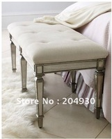 MR-401052st  mirrored bed bench /vaity set of unpholsteryy seater