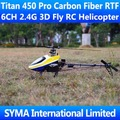 Titan 450 Pro Carbon Fiber RTF 6CH 2.4G Remote Control 3D Fly Align T-rex Trex Single Screw Propeller Electric RC Helicopter