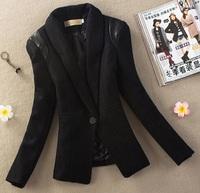 winter women's suits woolen blends coats office lady fashion vintage leather patchwork outerwear medium-long slim blazer