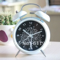FREE SHIPPING Metal paint mute alarm clock wishing tree lazy alarm clock 3 inch eye-lantern doubles bell, table clock
