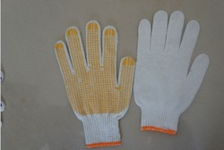 Free Shipping!!!100% Pure Cotton Work Gloves with PVC Dot White Machine Knit(China (Mainland))