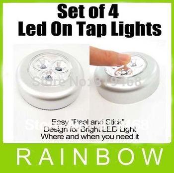 120pcs/lot RA 4 LED Stick on Tap Lights Adhesive Night Push Touch Peel Stick Free Shipping