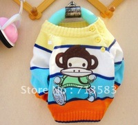 High quality,children autumn clothes,New style Cartoon Monkey baby boy's/girl's long Sleeve Pullovers Sweater,6pcs/lot