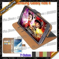 GALAXY Note II N7100 Flip cover, New Wallet Genuine Leather Case For samsung GALAXY Note 2 N7100 by DHL Free shipping