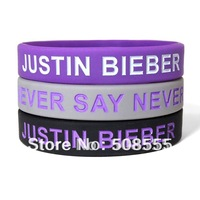 Justin Bieber Never Say Never Wristband,Silicon Bracelet, 3Colorus, Adult, 100pcs/Lot, Free Shipping