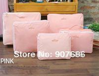 5pcs/set Nylon Storage Bag Clothes Bag Travel bags Pouch Save Space Suit For Cosmetic Clothes Shoes Pink Blue Grey #3456
