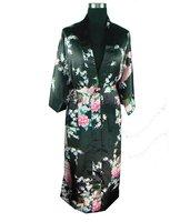 Black Spring Chinese Women's Silk Rayon Robe Kimono Bath Gown Flowers Size S M L XL XXL XXXL Free Shipping S0039