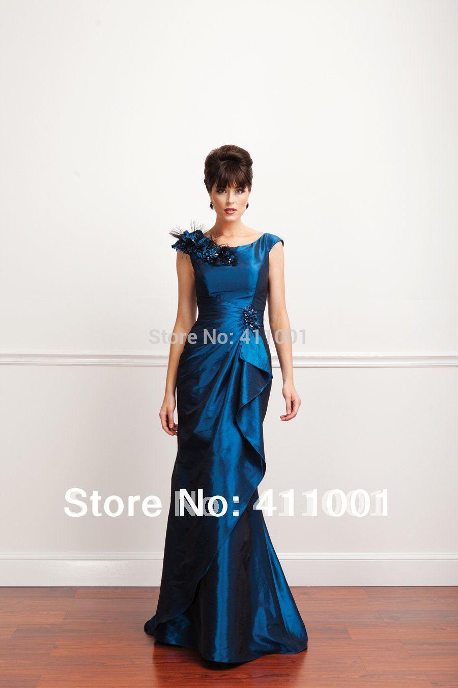 Taft pfauenblau erstaunliche meerjungfrau Boden- länge mutter der braut kleider stil abendkleid 0 2 4 6 8 10 12 14 16 18