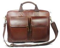"High Class Brown Italian Genuine Leather messenger bag men leather Briefcase for Men 15""laptop Bag Shoulder bag Free shipping"