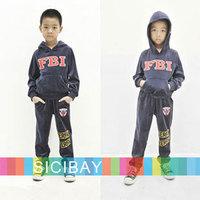 Free Shipping Cool Boys Winter Clothing Set Velvet Hooded FBI Letter Print Outfit  K0197