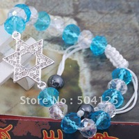 10x fashion star of David pentagram moon charm  bracelet clear black crystal silver gunmetal tone connector knotted bracelet