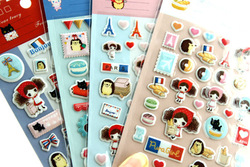 Free Shipping/ New Lovely girl travel in paris 3D pvc sticker / note Multifunction / DIY Mobilephone / Wholesale(China (Mainland))