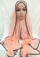 tc293b muslim cotton lace women long scarf,islamic hijab mix colors free shipping DHL