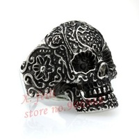 Free Shipping Men's PUNK Gothic Poker Skull Ring Stainless Steel  Silver Flower Finger Ring