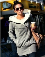 Free Shipping 2012 Women Hooded Thickening Fleece Long Hoodies,Zip Up Velvet Cardigan Coat /Jacket,Fashion Winter Wear