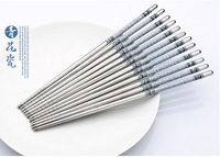 Stainless Steel Blue And White Porcelain Chopsticks Painting Dinner Chopsticks Grill Chopsticks