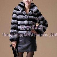 BG22126 Genuine Rex Rabbit Fur Jacket WIth Stripe Wholesale Retail Winter Women's Striped Jacket