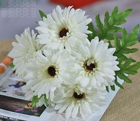 Min.order is $15 (mix order) 1lot=6 pieces White Gerbera Silk Flower for Wedding Bouquet Party Decoration,Free Shipping FZJ-2