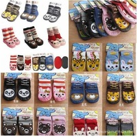 girl boys children thick warm home socks fit 1-3yrs baby kids non-slip floor home socks 24pairs/lot 10style 3size free shipping