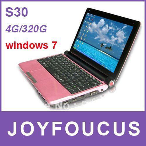 DHL free !Popular Laptop S30 10.2'' LCD WSVGA Wide-screen  4G RAM 320G Intel D2500 1.8G CPU  ...