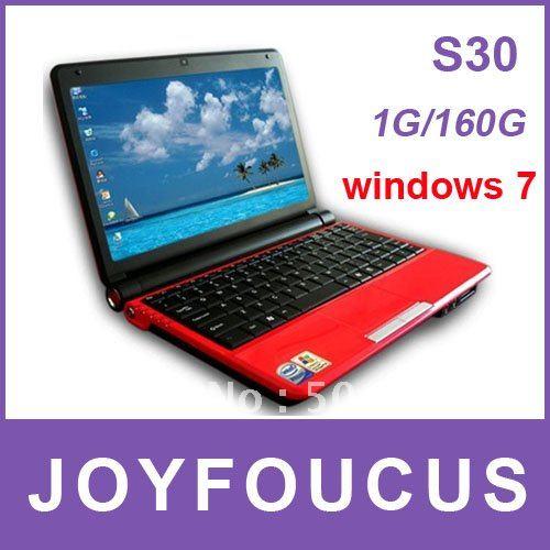 DHL free !Popular Laptop S30 10.2'' LCD WSVGA Wide-screen  1G RAM 160G Intel D2500 1.8G CPU  ...