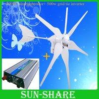 DHL free shipping 300w wind generator +500w DC 15V-30V wind grid tie inverter output AC110v-190v/AC180V-260V