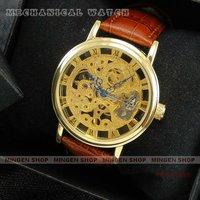 MINGEN SHOP - Hot sale Unique Golden Hollow Design Men Mechanical Watch H0002