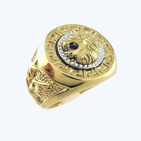 Men Jewelry; Men's Ring; 18K Yellow Gold GP ;Lion's Head Ring.free shipping;