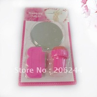 100 set/lot + Free Shipping,Wholesale Stamping Nail Art Kit, 3 in 1 Round Stainless Steel Image Plate