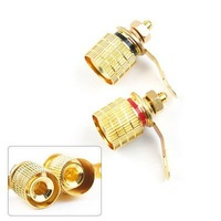 Free Shipping 10 PCS Gold Plated Premium Speaker Binding Post Banana Jack Wholesale E02060207
