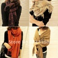 2012 Free Shipping Autumn and Winter Women's Yarn Muffler Scarf Cape Dual-use Ultra Long Plaid Scarf GLS10004