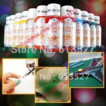 Бесплатная доставка - 12 цвета 30 мл ногтей аэрограф краска чернила
