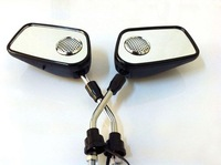 Free shipping(2 sets)+ motorcycle rearview mirrors with bluetooth ,and black color
