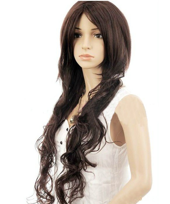 Long Dark Brown Full Cap Wigs