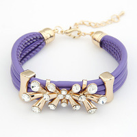 Lady Gifts! Korean Style Chinese Redbud Flower Leather Bracelets Bangles Chrams Rhinestone Bracelets For Women