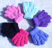 wholesale- children goves Solid color child gloves infant child thermal gloves toe coral fleece gloves