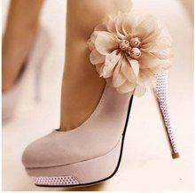 New Kvoll PU bright flower sexy high heels shoes for women diamond heels round head platform pump shoes eur size 34-42(China (Mainland))