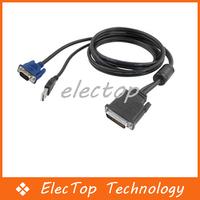 1.8m 30+5 Pin DVI to 15 Pin VGA M/M+USB Cable For LCD PC 50pcs/lot Wholesale