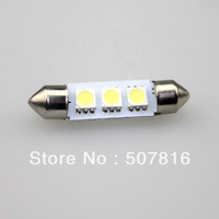 free shipping hot selling 10pcs 42mm 3 SMD 5050 LED Festoon Dome Car Lights Lamp Bulbs White 12V