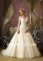 LW7237 High Quality Custom Empire Waist Plus Size Wedding Dress With Sleeves Vintage Inspired Lace 2014