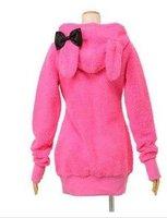 Women's Fashion Girl's Warm Winter Outwear Cute Rabbit Style Downy Hooded Coat Rose
