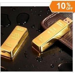 Wholesale  10% OFF 32GB 64GB 128GB 256GB  gold bar USB 2.0 Memory Stick Flash Pen Drive, free shipping