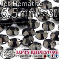 6.5mm SS30 Jet Hematite 500pcs/bag,Nail Crystals Non Hotfix Rhinestones Resin Flat Back stones glitters for Glue DIY Nail Art