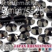 5mm SS20 Jet Hematite 1500pcs/bag,Nail Crystals Non Hotfix Rhinestones Resin Flat Back stones glitters for Glue DIY Nail Art BAG
