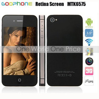 Goophone i4 MTK6575 3.5&#39;&#39; Original Screen+Android 4.0+1G CPU+512RAM+ 960*640+GPS+Bluetooth+Wifi WCDMA 3G Smart phone