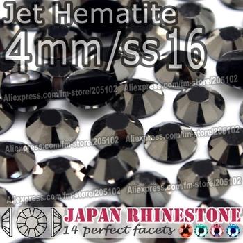 4mm SS16 Jet Hematite FlatBack Resin Rhinestones,3000pcs/bag Non-hotfix Glue-on loose crystal stones for DIY NailArt Cellphone