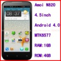 "Free shipping Amoi N820 Russian language 4.5""950*540 pixel GPS WIFI MTK6577 Dual core RAM:1GB ROM:4GB Dual Sim card(China (Mainland))"
