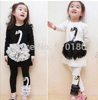 Retail high quality swan design autumn girls clothes set/kids clothes/suits/children's wear/long sleeves+pants