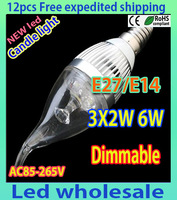 12pcs/lot Free Shipping Candle Bulb E14/E27/E12 6W 550 Lumens LED Candle Light 85-265V 3000K Warm White /White Light Bulb