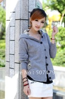 2013 autumn and winter new Women Korean hooded short plaid cloth cardigan sweater outerwear